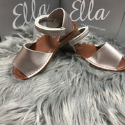 Matt Silver Spanish Sandals Side