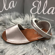 Matt Silver Spanish Sandals Close