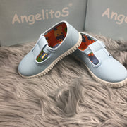 Baby Blue Canvas T - Bar Pumps Side By Angelitos