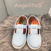 Baby Blue Canvas T - Bar Pumps  Front By Angelitos