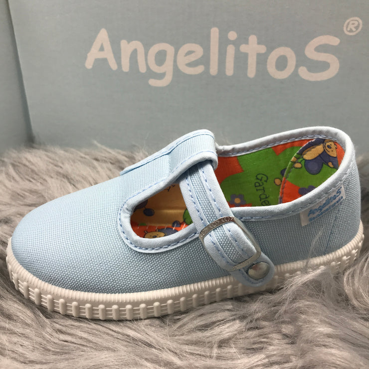 Baby Blue Canvas T - Bar Pumps  Close By Angelitos