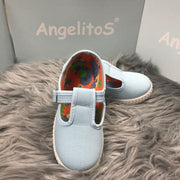 Baby Blue Canvas T - Bar Pumps By Angelitos