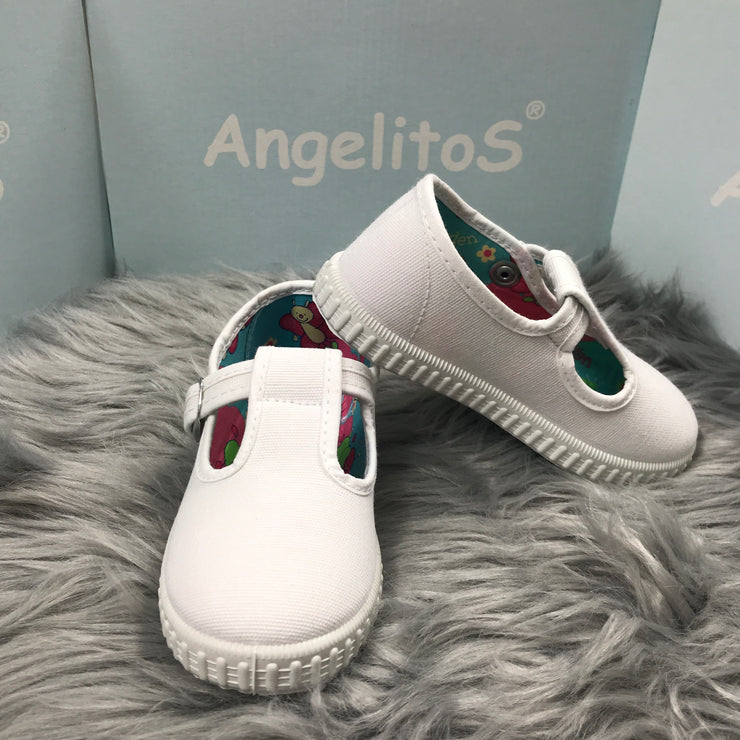 White Canvas T - Bar Pumps By Angelitos