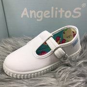 White Canvas T - Bar Pumps Close By Angelitos