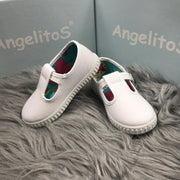 White Canvas T - Bar Pumps Side By Angelitos