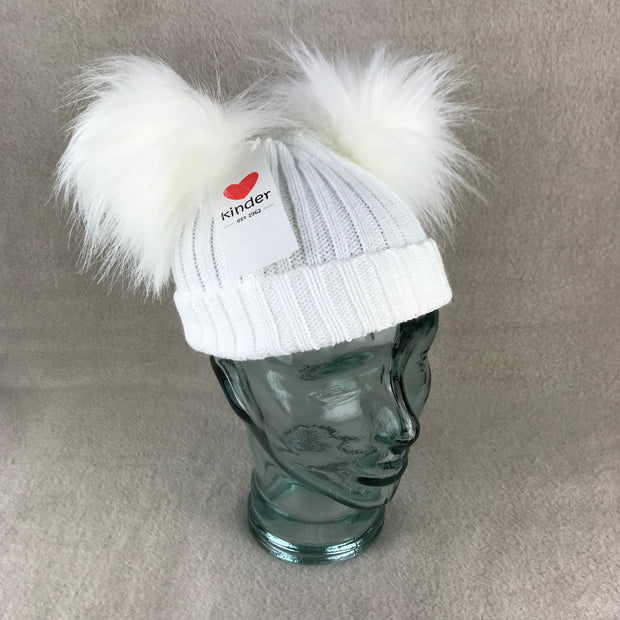 White Ribbed Double Faux Fur Pom Pom Hat
