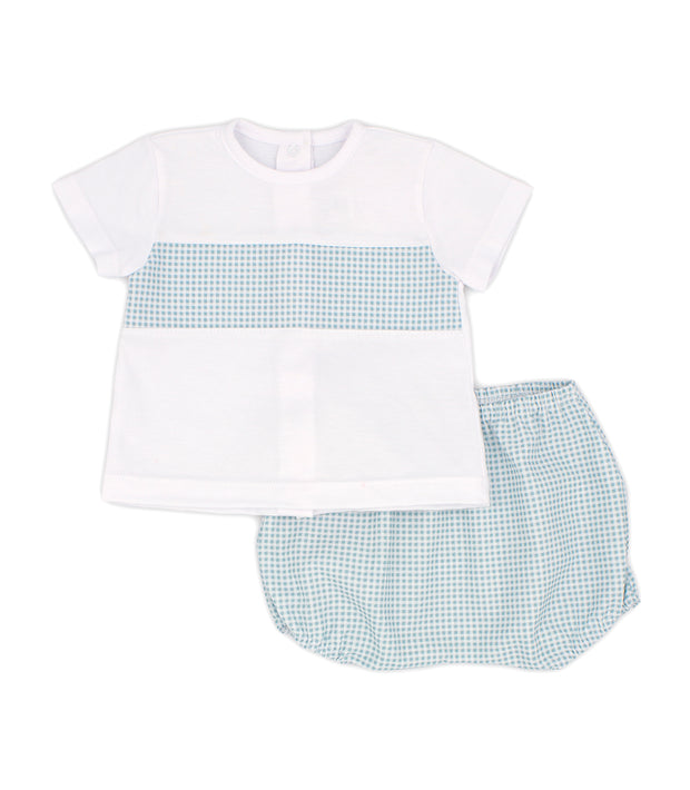 White & Sage Green Gingham Spanish Jam Pants Set