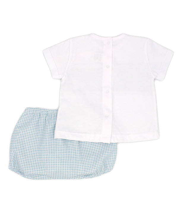 White & Sage Green Gingham Spanish Jam Pants Set Back