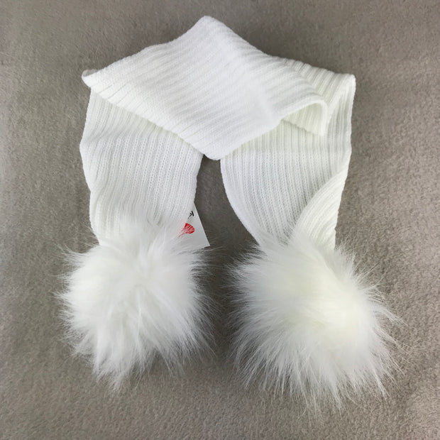 White Luxury Pom Pom Scarf