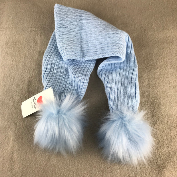 Baby Blue Luxury Pom Pom Scarf