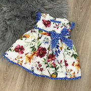 Cream & Royal Blue Spanish Dress with Floral Print design