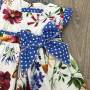 Cream & Royal Blue Spanish Dress with Floral Print design Bow