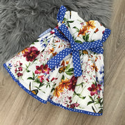 Cream & Royal Blue Spanish Dress with Floral Print design Back
