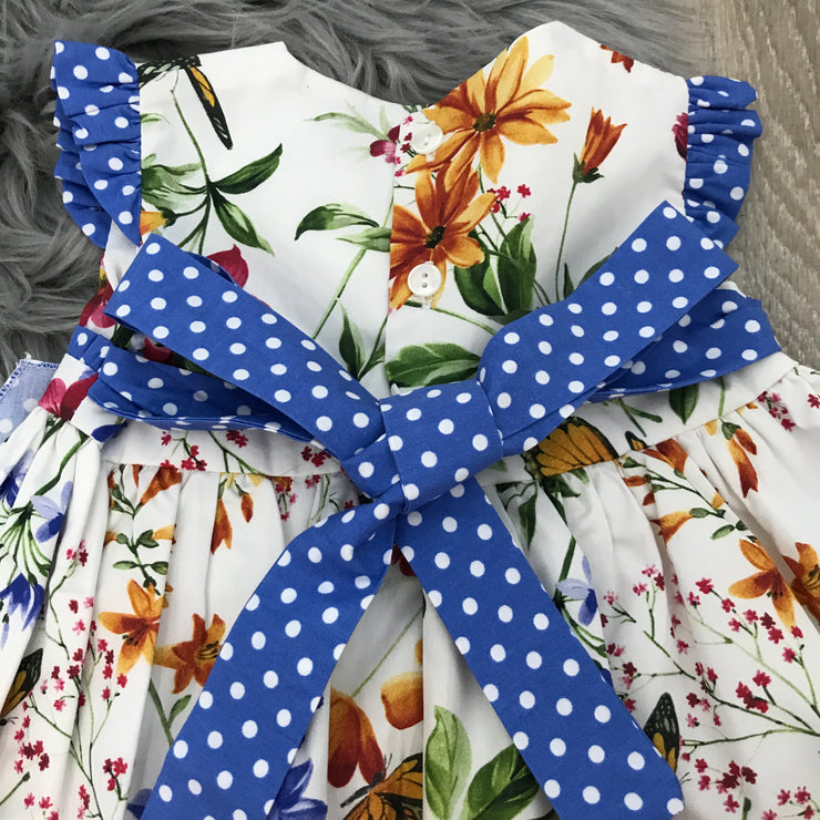 Cream & Royal Blue Spanish Dress with Floral Print design Back Bow