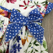 Cream & Royal Blue Spanish Dress with Floral Print design Close Bow