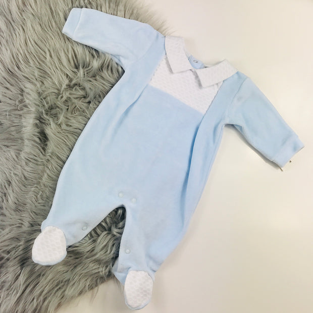 Baby Blue Velour Spanish Sleepsuit