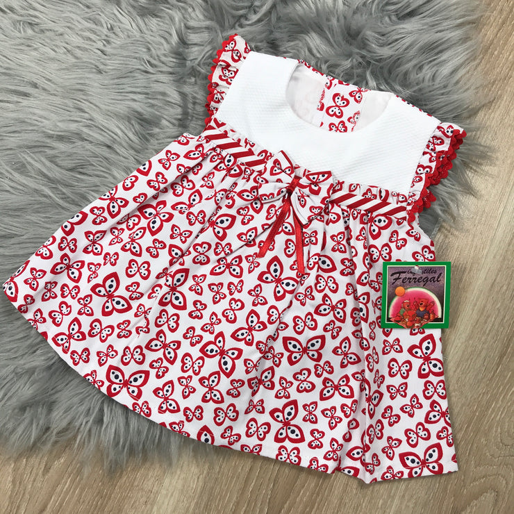 White & Red Butterfly Print Spanish Dress Set with Bonnet Close
