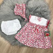 White & Red Butterfly Print Spanish Dress Set with Bonnet