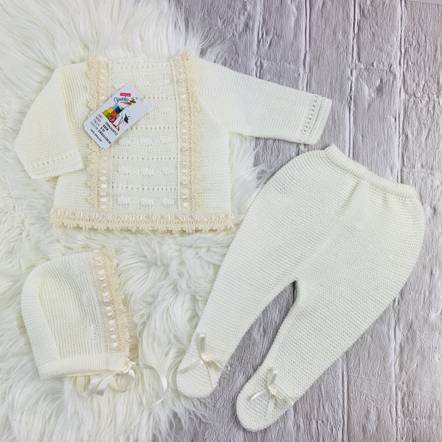 Cream Unisex Knitted Three Piece Spanish Set