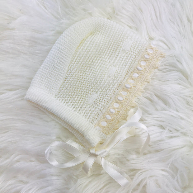 Cream Unisex Knitted Three Piece Spanish Set Bonnet