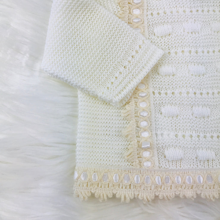 Cream Unisex Knitted Three Piece Spanish Set Close Up