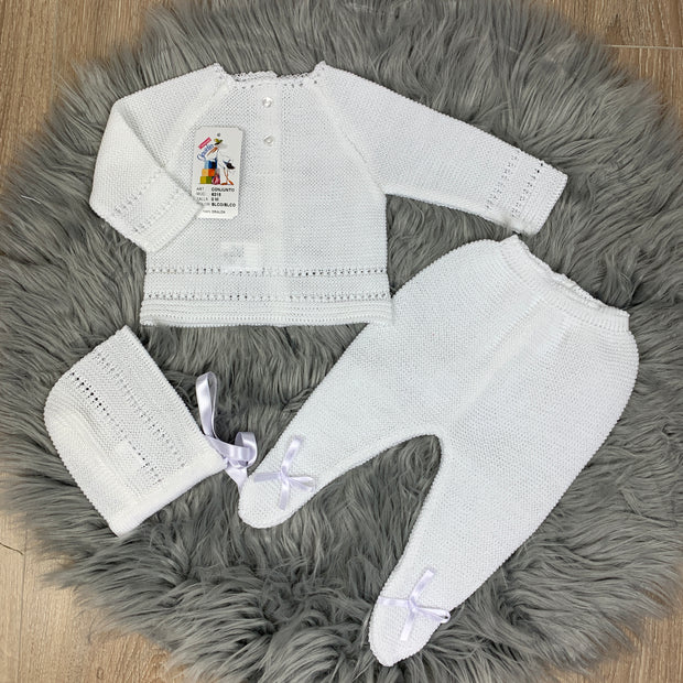White Unisex Knitted Three Piece Spanish Set