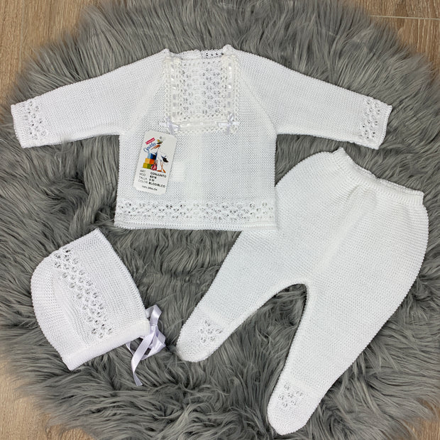 Unisex White Knitted Three Piece Spanish Set