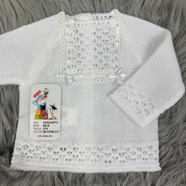 Unisex White Knitted Three Piece Spanish Set Close