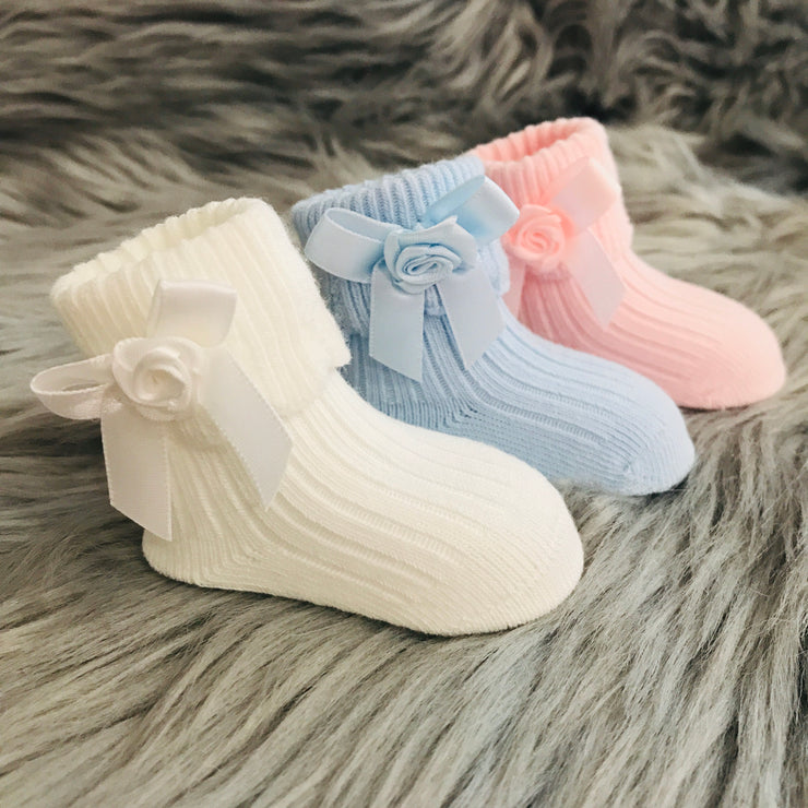Newborn Blue, Ivory, Pink Ankle High Spanish Bow Socks