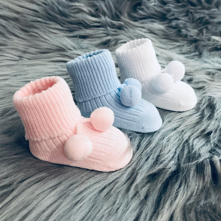 Newborn Pink Ankle High Spanish Pom Pom Socks