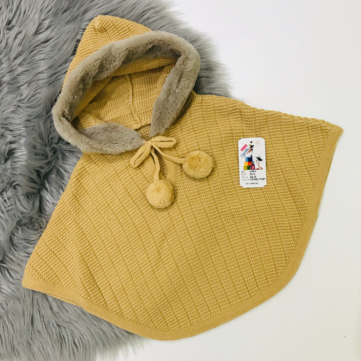 Camel Knitted Spanish Hooded Cape