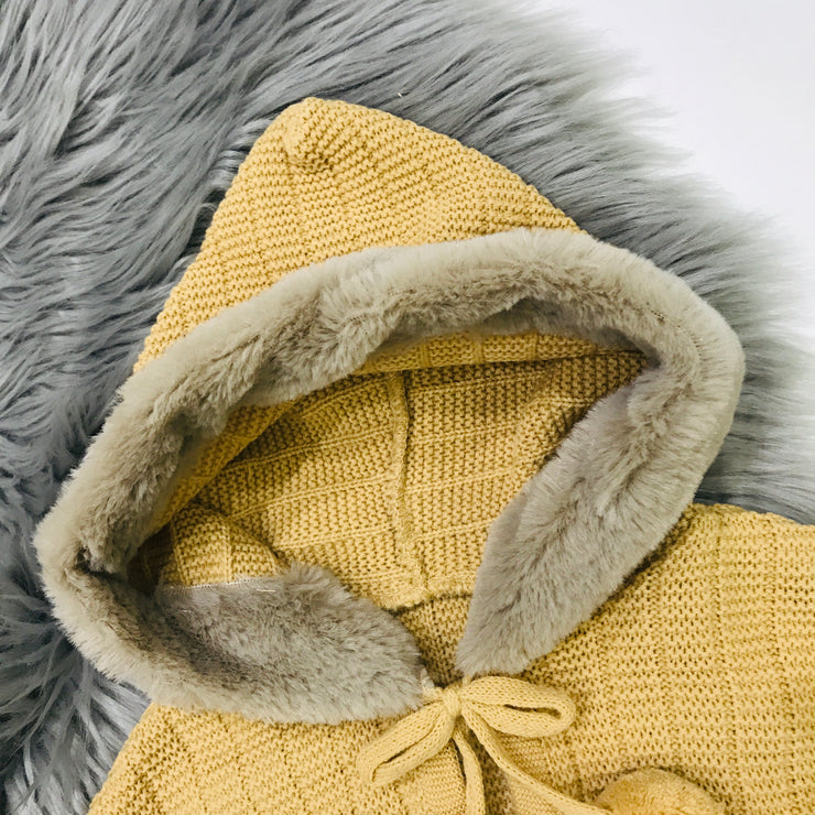 Camel Knitted Spanish Hooded Cape Hood