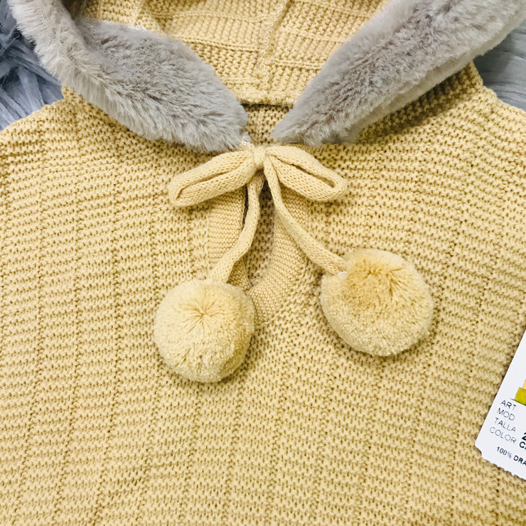 Camel Knitted Spanish Hooded Cape Close