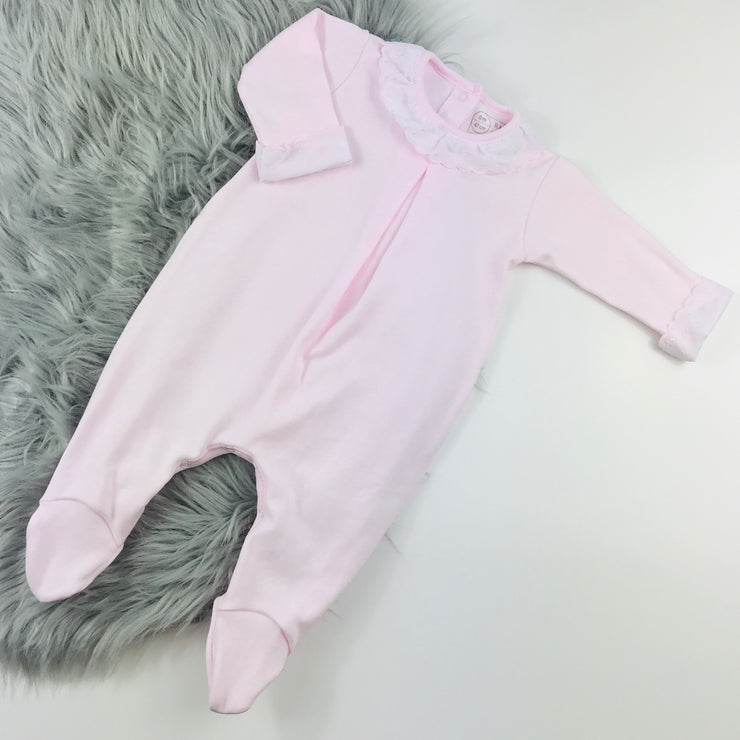 Baby Pink Frilly collar Spanish Sleepsuit