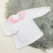 White Top & Pink Jam Pants Set