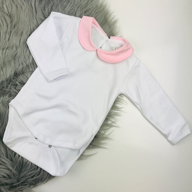 Pink & White Cord Pinafore Dress Set