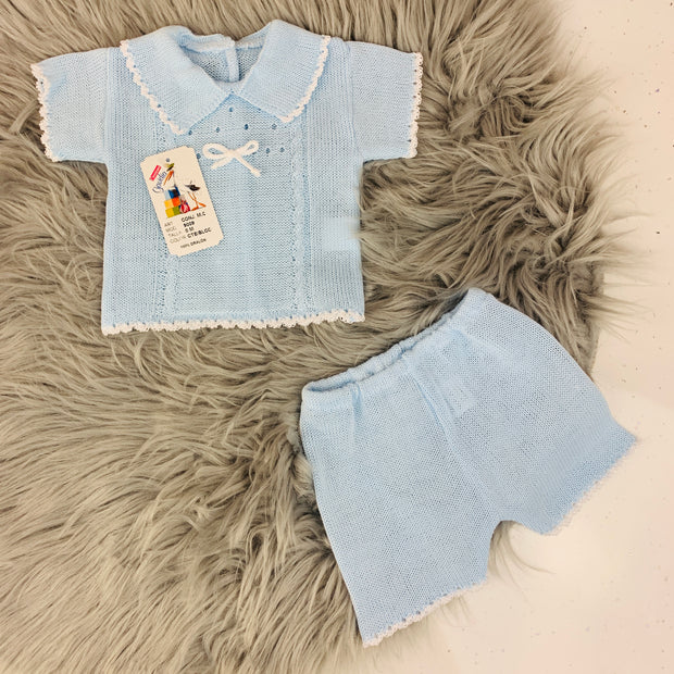 Blue Knitted Top & Shorts Set
