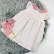 Dusky Pink & Cream Striped Spanish Dress