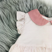 Dusky Pink & Cream Striped Spanish Dress Sleeve