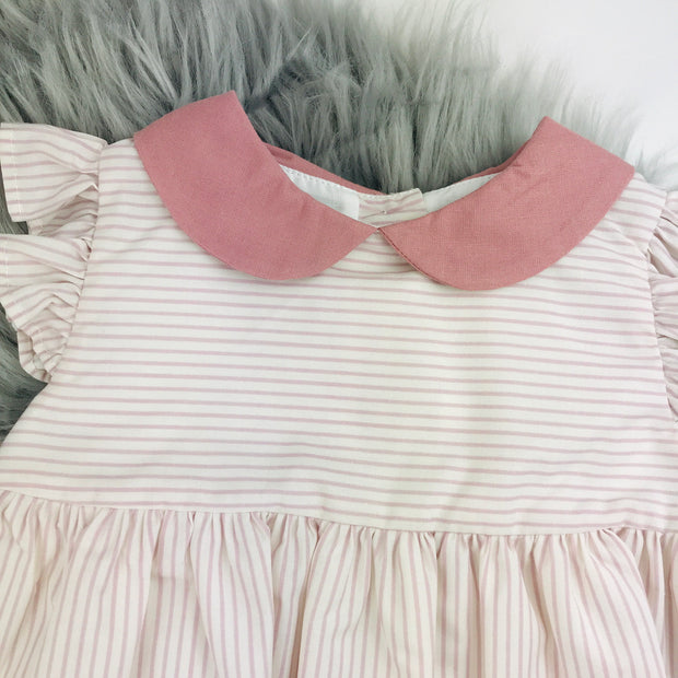 Dusky Pink & Cream Striped Spanish Dress Close