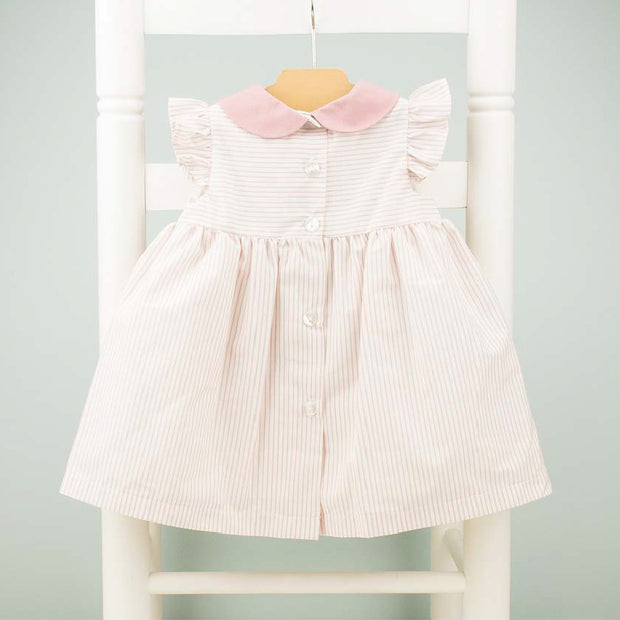Dusky Pink & Cream Striped Girs Spanish Dress