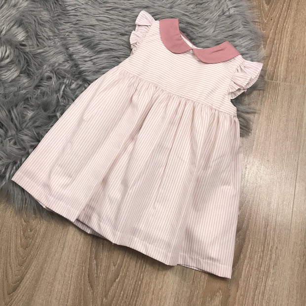 Dusky Pink & Cream Striped Spanish Baby Dress