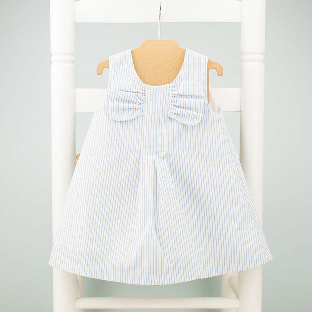 Blue & White Striped Girls Spanish Dress