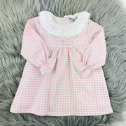 Pink Checked Frilly Collar Smocked Dress
