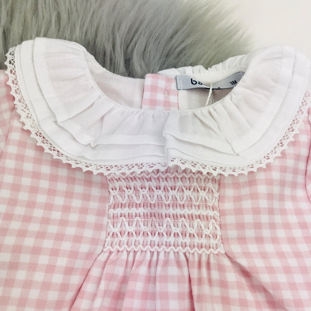 Pink Checked Frilly Collar Smocked Dress Close