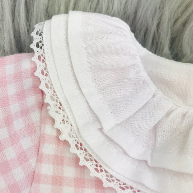 Pink Checked Frilly Collar Close