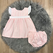 Pink & White Checked Dress