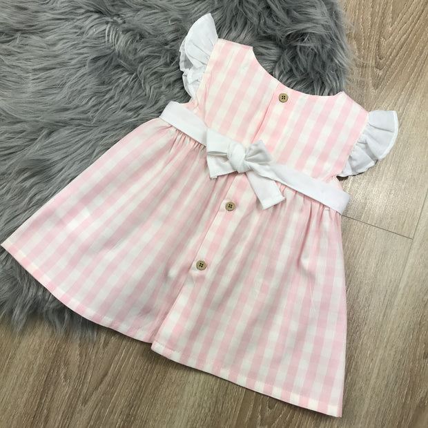 Pink & White Checked Dress rear