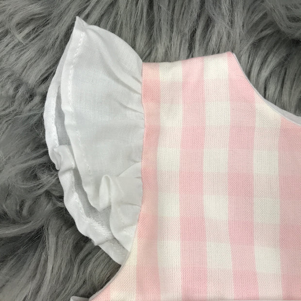Pink & White Checked Dress Sleeve