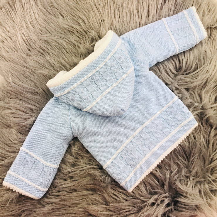 Sky Blue Knitted Baby coat Back